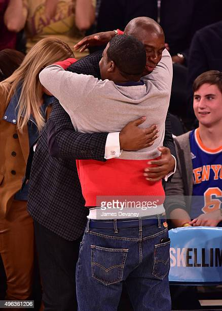 Magic Johnson and Tracy Morgan attend New York Knicks vs Los Angeles Lakers game at Madison Square Garden on November 8, 2015 in New York City.