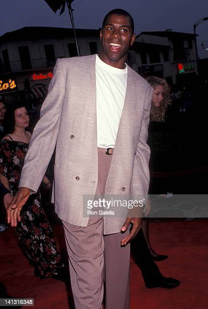 Magic Johnson at the Premiere of 'Double Impact', Mann Village Theater, Westwood.