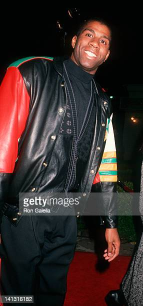 """Magic Johnson at the Premiere of """"The Five Heartbeats"""", Mann Village Theater, Westwood."""