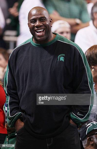 Magic Johnson attends the Tennessee Volunteers versus the Michigan State Spartans game during the midwest regional final of the 2010 NCAA men's...