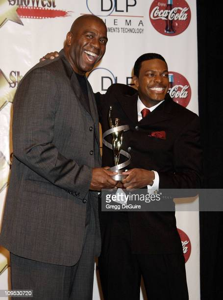 Magic Johnson Chris Tucker during 2002 ShoWest Gala Awards Press Room at Paris Hotel in Las Vegas Nevada United States