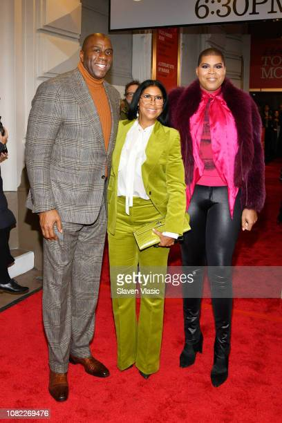 Magic Johnson Cookie Johnson and EJ Johnson attend opening night of To Kill A Mocking Bird at the Shubert Theatre on December 13 2018 in New York City