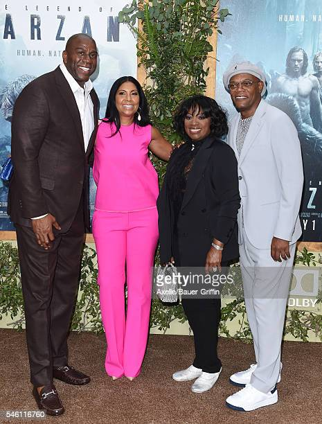 Magic Johnson Cookie Johnson Samuel L Jackson and LaTanya Richardson arrive at the premiere of Warner Bros Pictures' 'The Legend Of Tarzan' at TCL...