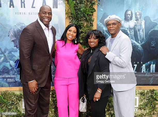 Magic Johnson Cookie Johnson Samuel L Jackson and wife LaTanya Richardson arrive at the premiere of Warner Bros Pictures' The Legend Of Tarzan at TCL...