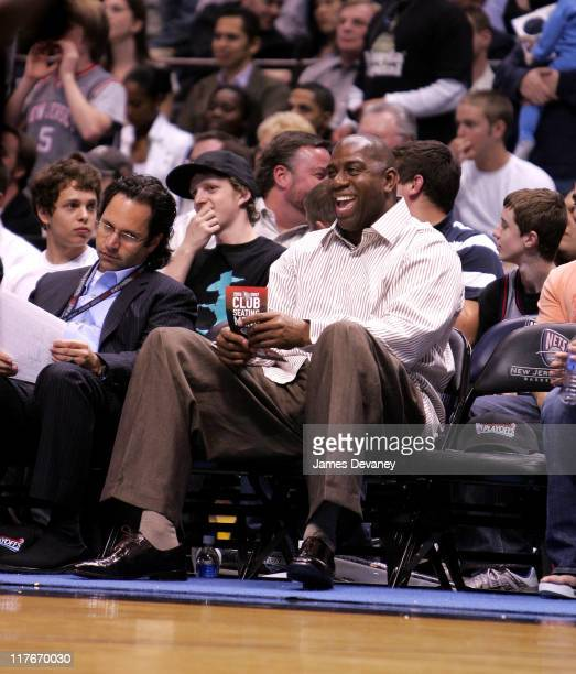 Magic Johnson during Celebrities Attend Cleveland Cavaliers vs. New Jersey Nets Game - May 14, 2007 at Continental Arena in East Rutherford, New...