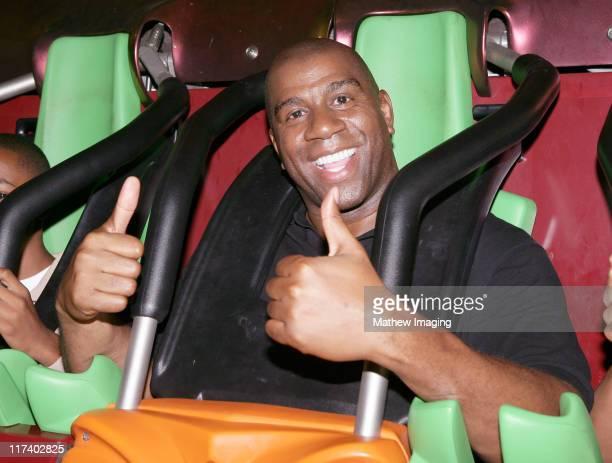 Magic Johnson during Magic Johnson celebrates his 47th Birthday at Six Flags Magic Mountain at Six Flags Magic Mountain in Valencia CA United States