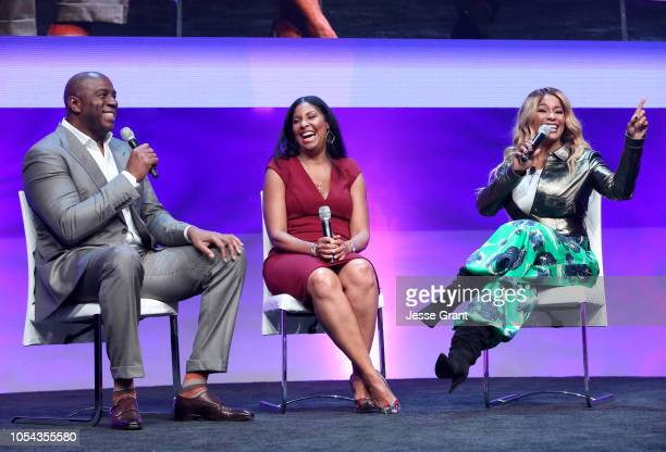 Magic Johnson Enterprises Chairman and CEO Magic Johnson Entreprenuer Author Cookie Johnson and SUPERCHARGED Founder and CEO Kwanza Jones speak...