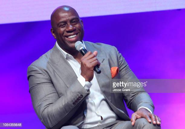 Magic Johnson Enterprises Chairman and CEO Magic Johnson speaks onstage at the SUPERCHARGED Summit By Kwanza Jones At NeueHouse Hollywood on October...