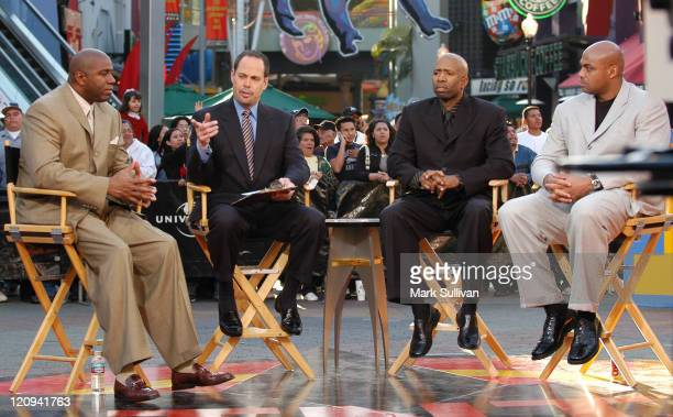 Magic Johnson Ernie Johnson Kenny Smith and Charles Barkley during live taping of TNT's Inside The NBA at City Walk