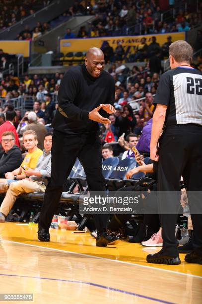 Magic Johnson exits the court during the Los Angeles Lakers v Charlotte Hornets game on January 5 2018 at STAPLES Center in Los Angeles California...