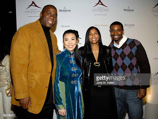 Magic Johnson Hannah An Cookie Johnson and Andre Johnson attend the 10th Anniversary of Crustacean Restaurant Beverly Hills on January 26 2008 in...