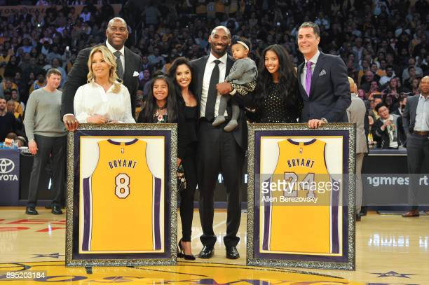 Magic Johnson Jeanie Buss Kobe Bryant wife Vanessa Bryant and daughters Gianna Maria Onore Bryant Natalia Diamante Bryant Bianka Bella Bryant and Rob...
