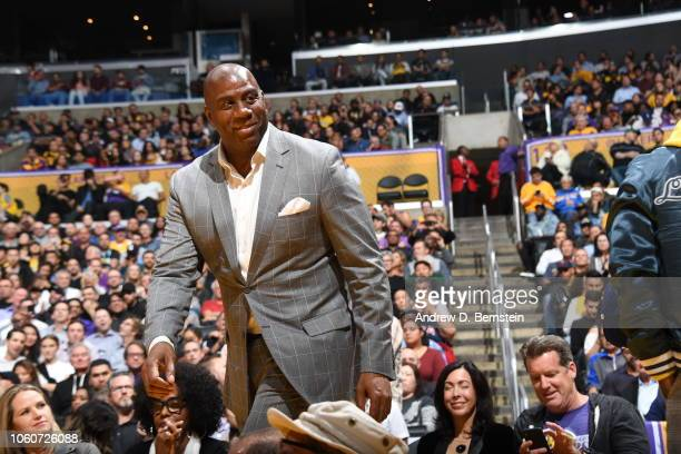Magic Johnson looks on during the game between the Los Angeles Lakers and Minnesota Timberwolves on November 7 2018 at STAPLES Center in Los Angeles...