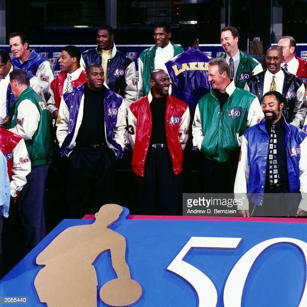 Magic Johnson, Michael Jordan and Larry Bird pose for a portrait during The Fifty Greatest NBA players photo shoot during the 1997 NBA All-Star...