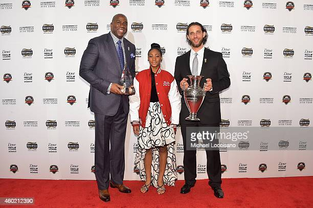 Magic Johnson Mo'ne Davis and Madison Bumgarner attend the Sportsman Of The Year 2014 Ceremony on December 9 2014 in New York City