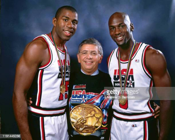 Magic Johnson, NBA Commissioner David Stern and Michael Jordan pose with the Gold Medal following the game between the United States and Croatia at...