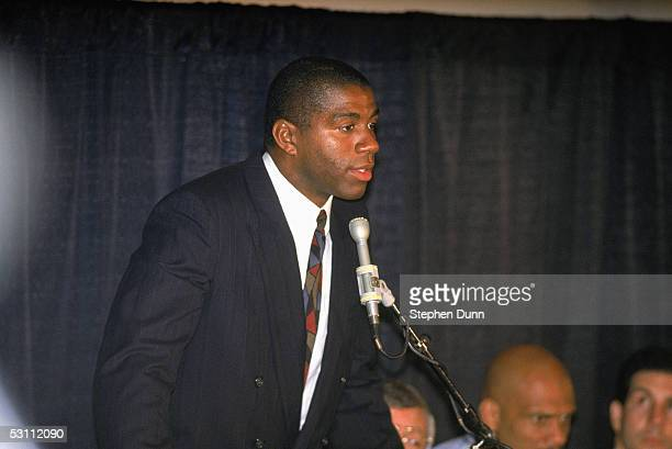 Magic Johnson of the Los Angeles Lakers announces at a press conferences his retirement after being diagnosed as HIV positive
