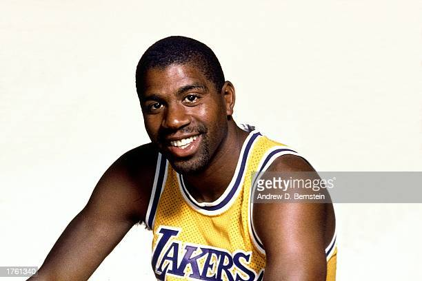 Magic Johnson of the Los Angeles Lakers poses for a media day portrait on October 1 1987 in Los Angeles California NOTE TO USER User expressly...