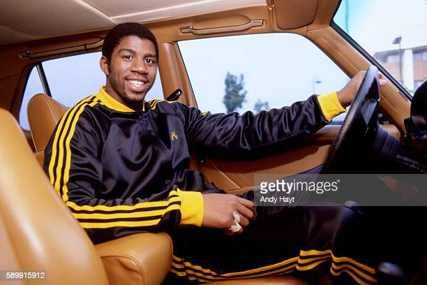 Magic Johnson of the Los Angeles Lakers poses for a picture circa 1981 at the Great Western Forum in Los Angeles California NOTE TO USER User...