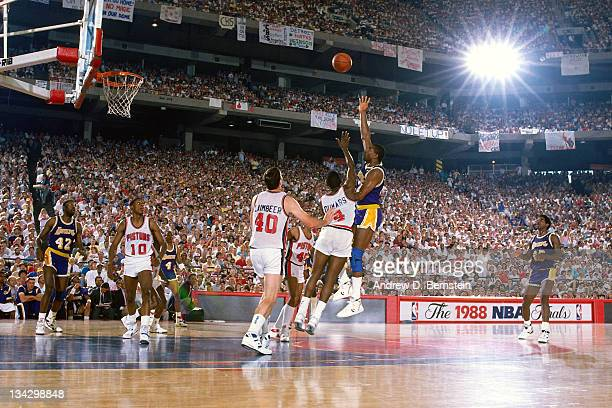 Magic Johnson of the Los Angeles Lakers shoots against Joe Dumars of the Detroit Pistons during Game Five of the 1988 NBA Finals on June 16, 1988 at...
