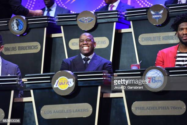 Magic Johnson of the Los Angeles Lakers smiles during the 2017 NBA Draft Lottery at the New York Hilton in New York New York NOTE TO USER User...