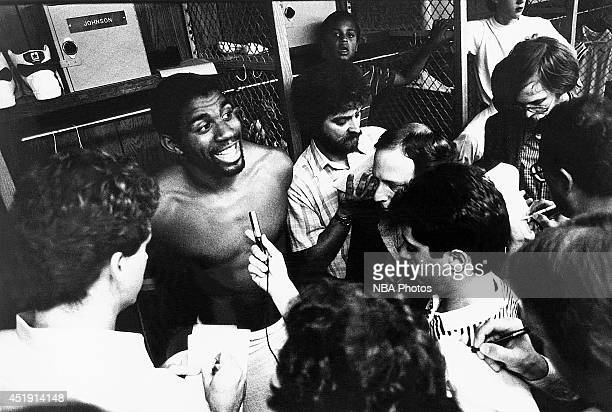 Magic Johnson of the Los Angeles Lakers speaks with media after a game circa 1980 at the Great Western Forum in Los Angeles California NOTE TO USER...