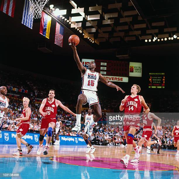 Magic Johnson of the United States National Team shoots against Canada during the 1992 Olympics in Barcelona Spain NOTE TO USER User expressly...