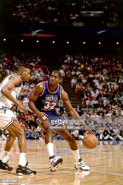 Magic Johnson of the Western Conference AllStars drives against the Eastern Conference AllStars during the 1992 NBA AllStar Game on February 9 1992...