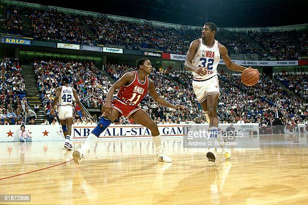 Magic Johnson of the Western Conference AllStars looks to make a play against the Eastern Conference AllStars during the 1986 NBA AllStar Game on...