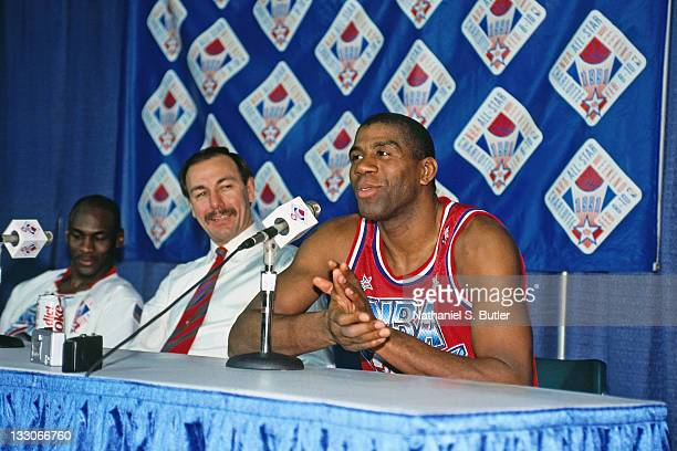 Magic Johnson of the Western Conference AllStars talks to the media during the 1991 NBA All Star Game on February 10 1991 at the Charlotte Coliseum...