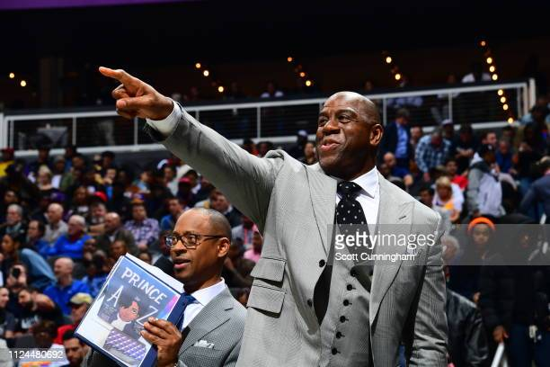 Magic Johnson reacts at the game between the Atlanta Hawks and the Los Angeles Lakers on February 12 2019 at State Farm Arena in Atlanta Georgia NOTE...