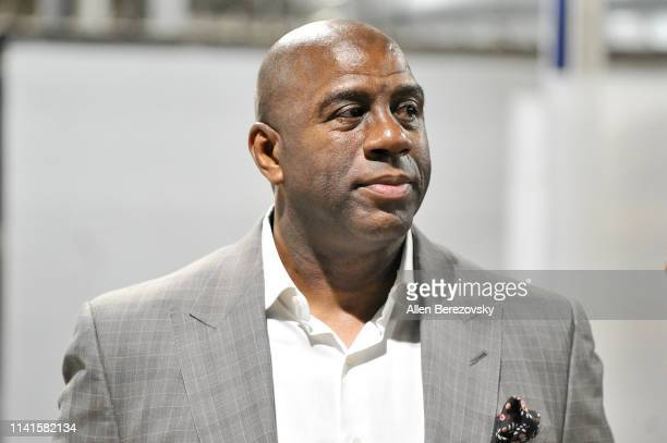 Magic Johnson resigns as the Lakers' president of basketball operations prior to a basketball game between the Los Angeles Lakers and the Portland...