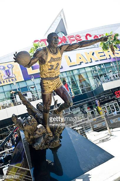 magic johnson statue in front of staples center - magic johnson lakers stock photos and pictures