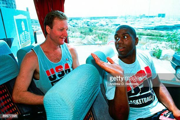 Magic Johnson talks to Larry Bird on the bus during the 1992 Olympic Games in 1992 in Barcelona Spain NOTE TO USER User expressly acknowledges and...
