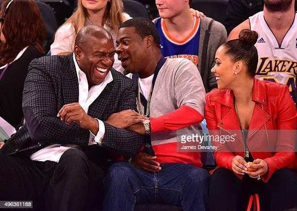 Magic Johnson, Tracy Morgan and Megan Morgan attend New York Knicks vs Los Angeles Lakers game at Madison Square Garden on November 8, 2015 in New...