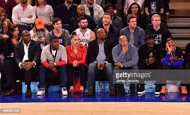 Magic Johnson, Tracy Morgan, Megan Morgan, Michael K. Williams and Spike Lee attend New York Knicks vs Los Angeles Lakers game at Madison Square...