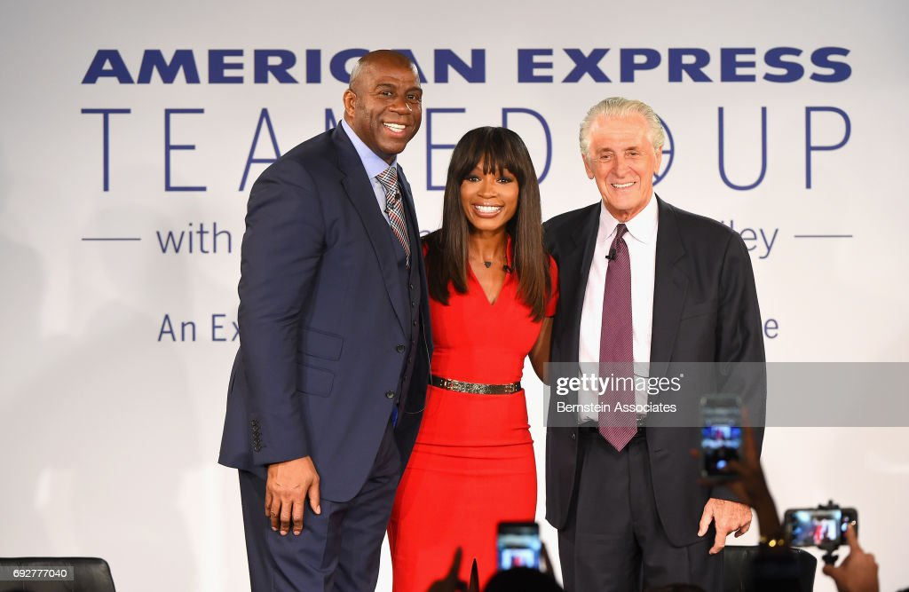 American Express Teamed Up With Magic Johnson And Pat Riley : News Photo