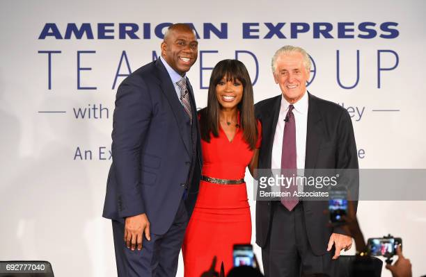 Magic Johnson tv personalityCari Champion and Pat Riley onstage during the American Express Teamed Up with Magic Johnson and Pat Riley on June 5 2017...