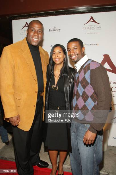 Magic Johnson with wife Cookie Johnson and son Andre arrive at Crustacean's Ten Year Anniverary with Perfomance by Patti LaBelle on January 262008 in...