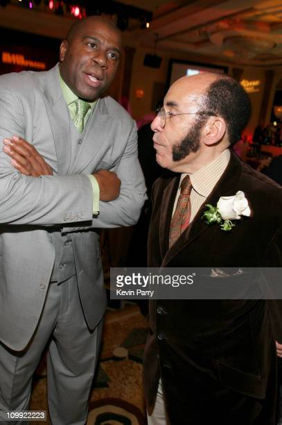 Magic Johsnon and Earl Graves during Black Enterprise Top 50 Hollywood Power Brokers List Party Inside at Beverly Wilshire Four Seasons in Beverly...
