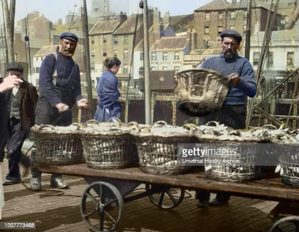 Magic lantern slide circa 1880., Victorian/Edwardian Social History. A picture of fishermen unloading herring at North Shields Fish Quay. Buildings...