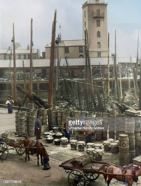 Magic Lantern Slide circa 1880, Victorian/Edwardian Social History. A view of North Shields Fish Quay market with fishing boats, herring, barrels and...