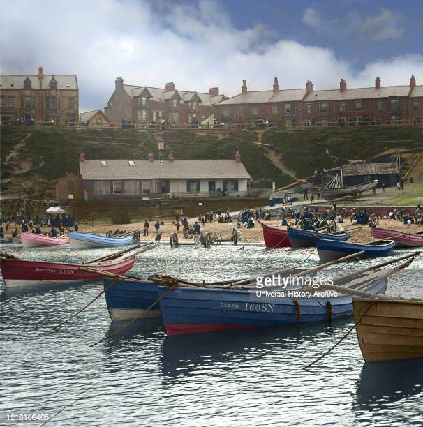 Magic Lantern slide circa 1880 Victorian/Edwardian social history Cullercoats Bay with coble fishing boats and people on the beach Cullercoats Tyne...