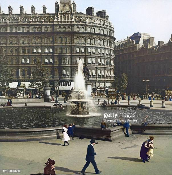 Magic Lantern slide, circa 1880, Victorian/Edwardian, social history. Trafalgar Square with people and horse-drawn carriages; City of Westminster,...