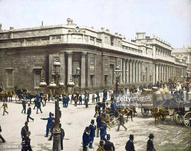 Magic Lantern slide circa 1880 Victorian/Edwardian social history The bank of England with lots of people and horse drawn carriage London England