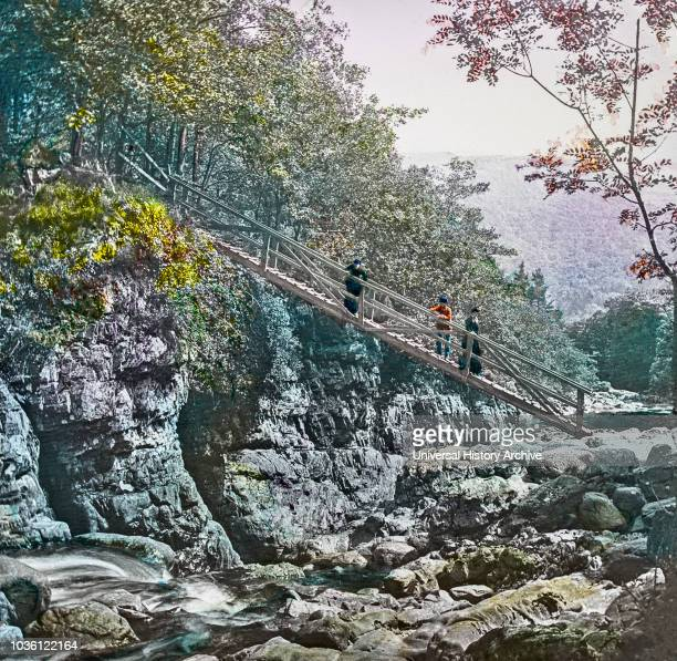 Magic Lantern slide circa 1900 hand coloured created in 1887 A tour of North Wales 12 Miners' Bridge over the Llugy‰ÛÓThis pretty spot is about a...