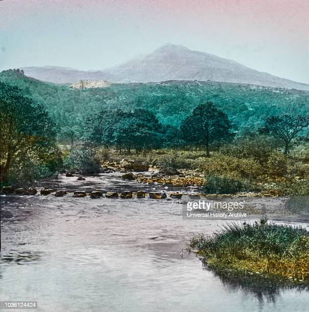 Magic Lantern slide circa 1900 hand coloured created in 1887 A tour of North Wales 14 Moel Siabod from near Capel Curig‰ÛÓ This mountain is 2865 feet...