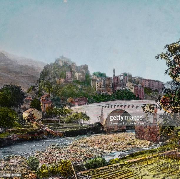 Magic Lantern slide circa 1900 hand coloured Titled Cities and places of interest in the Mediterranean 17 ‰ÛÓCORSICA Looking down from Nice across...