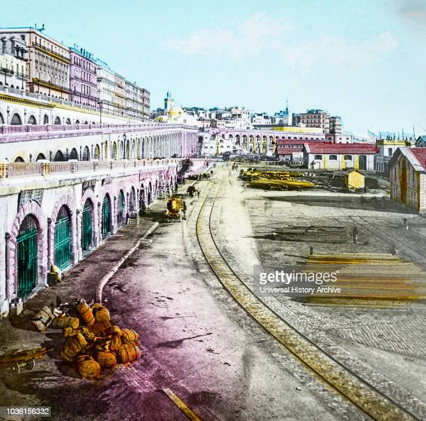 Magic Lantern slide circa 1900 hand coloured Titled Cities and places of interest in the Mediterranean45‰ÛÓALGIERS WITH THE BOULEVARDS Approaching...