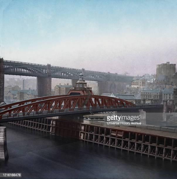 Magic Lantern slide circa 1900 hand coloured Victorian/Edwardian era Newcastle High Level and Swing Bridge over the River Tyne Newcastle upon Tyne...